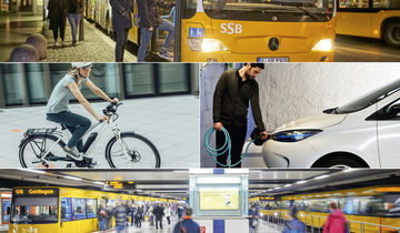ÖPNV, Bus, Straßenbahn, Fahrrad, Elektroauto, Collage