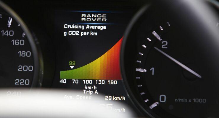 Range Rover Evoque CO2-Anzeige CO2 Ausstoß Emission